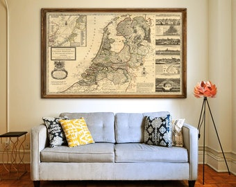 "Map of Netherlands 1732 Old map of Netherlands in 4 sizes up to 60x36"" (150x90 cm) Dutch map, Holland, Amsterdam - Limited Edition of 100"