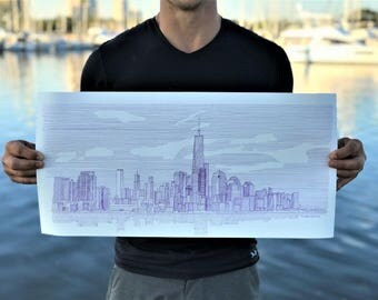 Ink Drawing of New York Skyline - Art, Large Format, City, Architecture, Buildings, Skyscrapers, Pen and Ink, 5x7, 8x10, 12x24, Print