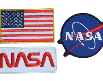 NASA Space Shuttle Pilot Iron-On  Patch Set , 3 Embroidered patches