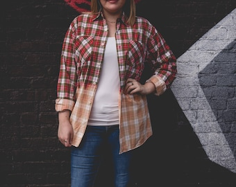 Medium red, black and white bleached button up