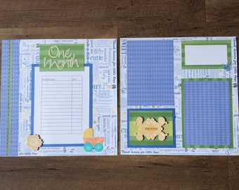 Premade 12 x 12 Two-Page Baby Boy Layout, with Milestones Chart, Room for 2+ Photos/Journaling, in Blue, Green, Yellow, Orange