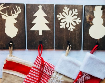 Rustic Wooden Christmas Stocking Holders - Rustic Stocking Hangers - Wooden Christmas Signs - Rustic Coat Hanger - Set of 3 - Home Decor