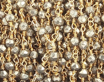 MEGA SALE 5 FEET Natural Pyrite 3-4mm Rosary Style Beaded Chain - Beads wire wrapped 24k Gold  Plated  Bd010
