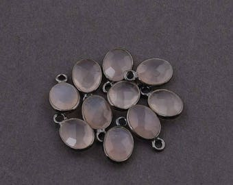 VALENTINE DAY SALE 10 Pcs Rose Quartz Oxidized Silver Faceted Oval Single Bail Pendant -  12mmx7mm Ss303