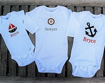 Personalized Nautical Bodysuit - Anchor, Sailboat or Ship Wheel (Helm) - Custom Made!