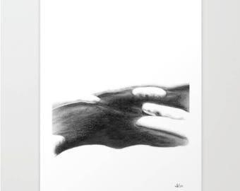 Snowy Creek, Art Print, Graphite, Pencil, Drawing, Black and White, Minimalist, Abstract, Decor, Art, Print