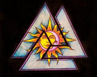 Sun and Moon Print