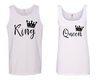 King and Queen Matching Tank Tops~ His and Hers Tank Tops~ MR and Mrs Tank Tops~ her king and his queen shirts