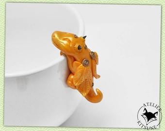 Orange Dragothe - Dragon tea bag clip