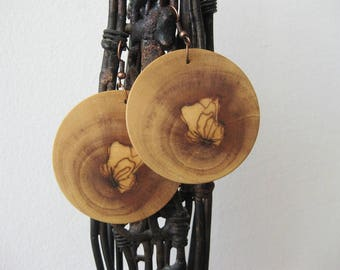 Olive wood earrings / wooden earrings / handmade jewelry / handmade earrings / gift for her / gifts for women