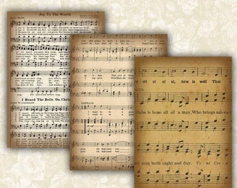 SALE 60% Vintage Music sheet Cards Digital Collage Sheet Printable 2.5x3.5 inch size Images Gift Tags Jewelry Holders Scrapbook ATC ACEO Car