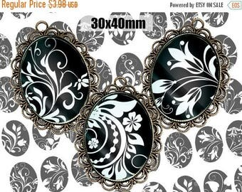 SALE 50% Digital Collage Sheet BLACK WHITE Floral 30x40 Printable Oval Download for pendants magnets Cabochons jewelry