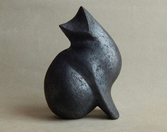 "Ceramic sculpture ""Black cat"", cat figurine, cat collection, ceramics Raku, pets, sculpture for the garden, art, collecting, gift for it"