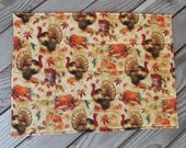 Thanksgiving turkey placemats, quilted placemats, handmade placemats, table decor, set of 8