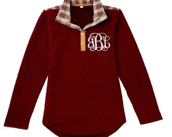 Quilted pullover, monogrammed pullover, Monogram pullover, Monogrammed quilted pullover, Monogrammed jacket, Monogrammed plaid pullover