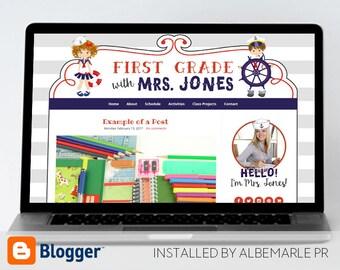 Premade Blogger Template // Blogspot Template // Teacher Blog Template // Nautical Blog - Mrs. Jones