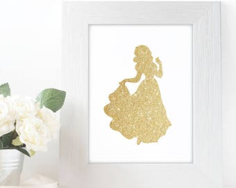 "Gold Glitter Snow White Silhouette,  5x7"" 8x10"" incld., DIGITAL PRINTABLE File, Gold Sparkle Princess, Disney Princess Decor"