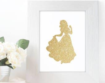 "Gold Glitter Snow White Silhouette,  5x7"" 8x10"" incld., DIGITAL PRINTABLE File, Gold Sparkle Princess, Disney Princess Decor"