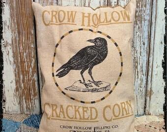 Primitive Crow Corn Feedsack Type Pillow or Panel