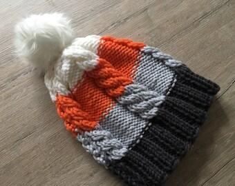 Hat beanie in braid pattern, knitted