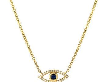 ON SALE Diamond evil eye necklace, 14k solid gold, pave diamond evil eye