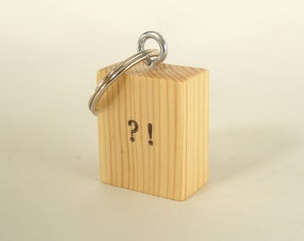 Interrobang Design Block Wooden Keyring Keychain