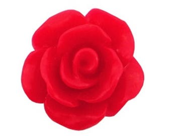 Rose beads, acrylic beads, plastic beads-matt-10 pcs.-Color selectable (color: red)