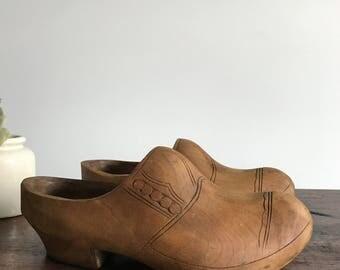 Vintage Dutch Wooden Clogs