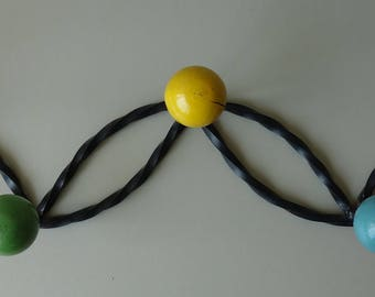 Vintage atomic era coat hanger retro 60s sixties space age hooks wrought iron balls clothing hanger French Eames Hang it All inspiration