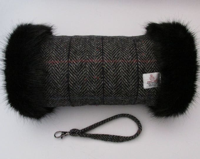 Harris Tweed Grey Herringbone with Checks & Flecks of Colour Hand Muff with Black Faux Fur Trim