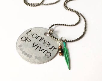Joy of living ---necklace in  aluminum with black and verdigris green detail