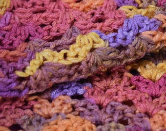 Regal Purple, Peach, and & Orange Cat Mat -- Colorful Crochet Pet Blanket with a Shell Stitch