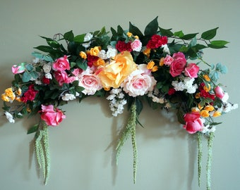Wedding Arch, Roses Swag, Wedding Fireplace Swag, Floral Swag, Silk Floral Wreath, Floral Wall Arrangement, Over Picture, Window Swag