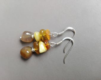 Amber, Agate earrings sterling silver and wood