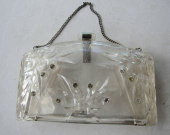 Vintage Clear Lucite and Rhinestone Purse with Handle