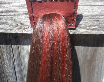 """25"""" Horse Tail for cosplay, costume, or ponyplay. Medium chestnut brown with rusty red highlights. Ready to ship."""