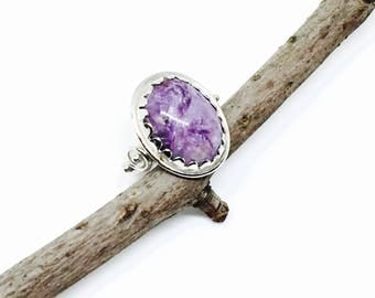 Charoite Ring set in sterling silver 925. Size 6.5. Can be sized. Natural authentic charorite stone.