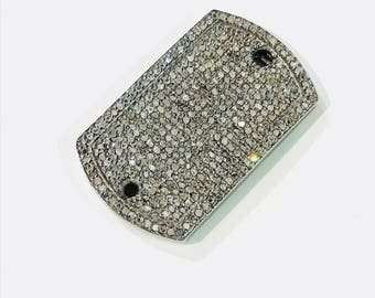 Pave diamond  2 hole connector. Length - 1.35 inch Set in sterling silver 925. Natural authentic diamonds.