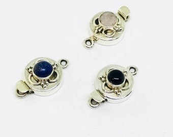 Box clasps in solid sterling silver 92.5. with gemstones lapis lazuli, amethyst, moonstone. 12mm round