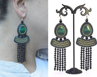 Egyptian earrings Greek earrings Bead embroidered earrings Green gold earrings Dangle earrings Beaded embroidery earrings Beadwork earrings