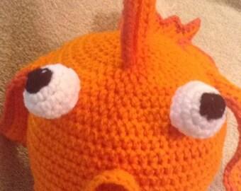 Handmade crochet baby hat/ deer antlers/ orange/ winter hat/ photo prop hat/ orange goldfish baby hat