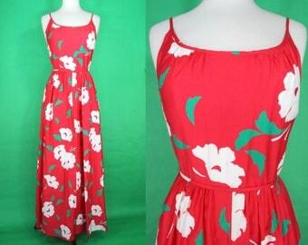 Hawaiian Dress.....60's Malia Red Floral Maxi Dress