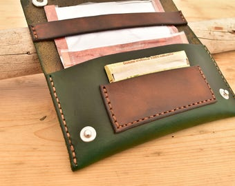 leather tobacco pouch green vintage