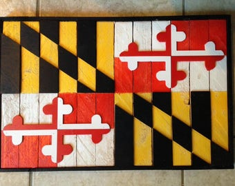 Wood 3D Maryland Flag