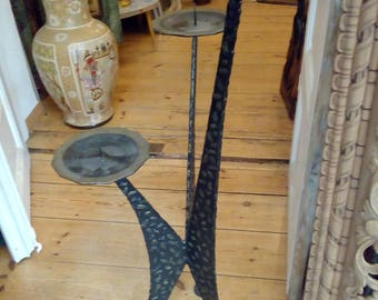 Candleholder hand forged 82cm 70s, candle chandelier Handforged 82 cm 70 years