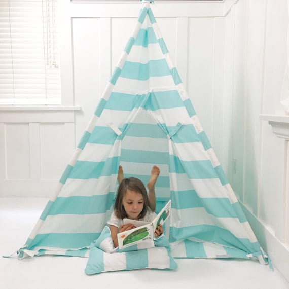 Kids Play Tent Teepee Handmade in Turquoise/Aqua and White Stripe Designer Cotton Fabric. Comes With Padded Mat Base AND Two Pillows!