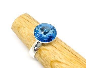 Sterling silver adjustable Swarovski Rivoli solitaire ring