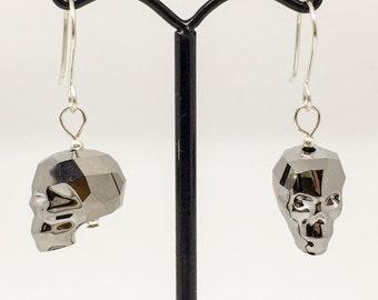 Swarovski and sterling silver skull earrings, gothic earrings, skull beads, Swarovski skulls
