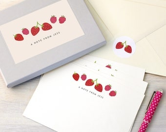 Personalised Strawberries Writing Set