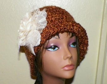 On Sale- Red Brown Cloche Hat Flapper Womens  Downton Abby Freeform Beanie Crochet Gatsby Bucket 1920s Style